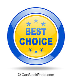 best choice blue and yellow web glossy round icon
