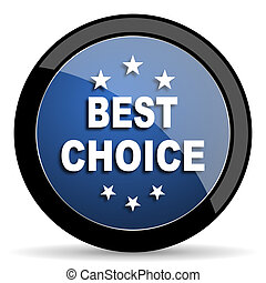 best choice blue circle glossy web icon on white background, round button for internet and mobile app
