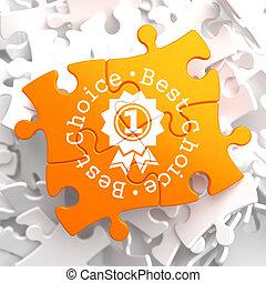 Best Choice Concept on Orange Puzzle.