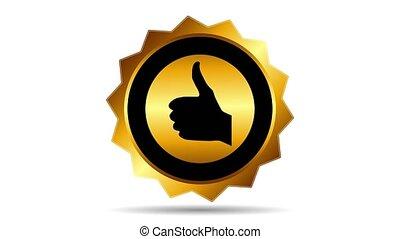 Best choice golden label, circular motion. footage