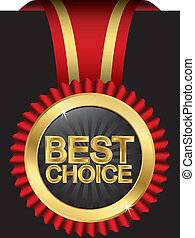 Best choice golden label with red r