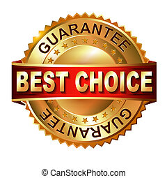 Best Choice golden label with ribbon.