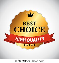Best Choice Golden Label with Ribbon Vector Illustration