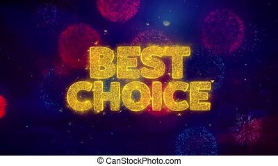 Best Choice Greeting Text Sparkle Particles on Colored Fireworks