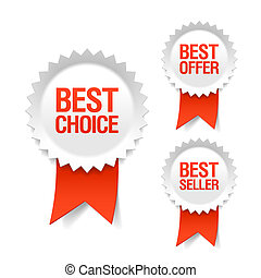 Best choice, offer and seller labels with ribbon illustration