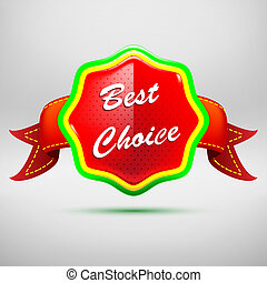Best choice red label - icon isolated on white background. Vector illustration