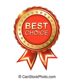Best choice red label with ribbons