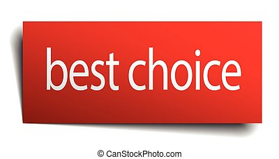 best choice red paper sign isolated on white