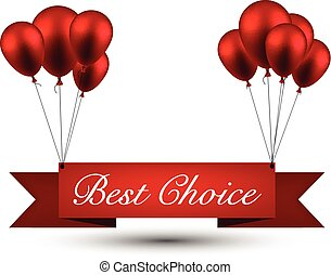 Best choice red ribbon background with balloons.