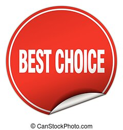 best choice round red sticker isolated on white