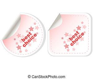Best Choice stickers Button set card Vector