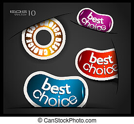 Best choice tag or stickers collection. Shapes comes out from a little hole. Transparent shadows. Ready to cut and past on every surface.