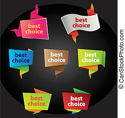 best choice tags in origami style and different colors & styles
