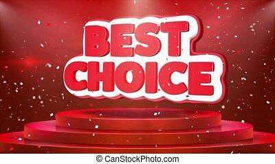 Best Choice Text Animation Stage Podium Confetti Loop...