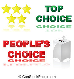 Best choice - Glossy illustrations of two icons for best...