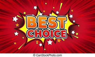 Best Choice Word Retro Cartoon Comic Bubbles Seamless loop -...
