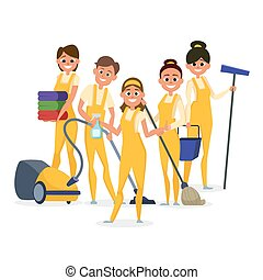 Best cleaning staff vector characters isolated on white background