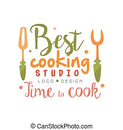 Best cooking studio, time to cook logo design, kitchen emblem can be used for culinary class, course, school hand drawn vector Illustration