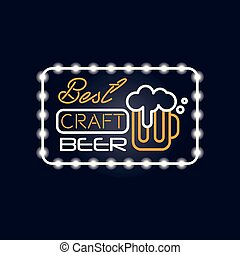 Best craft beer neon sign, vintage bright glowing signboard, light banner vector Illustration