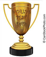 best dad trophy 3d illustration