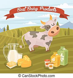 Best dairy products banner with rural landscape