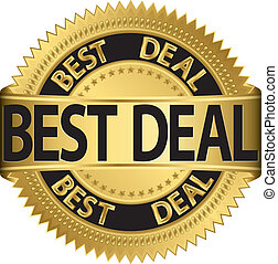 Best deal golden label, vector illu