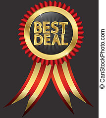 Best deal golden label with red ribbons, vector