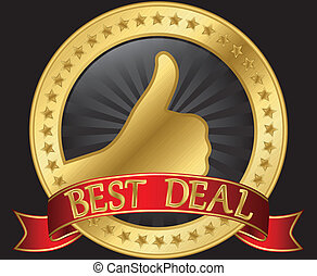 Best deal label with thumb up and red ribbon, vector