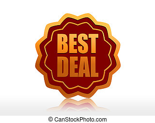best deal - golden starlike label with text