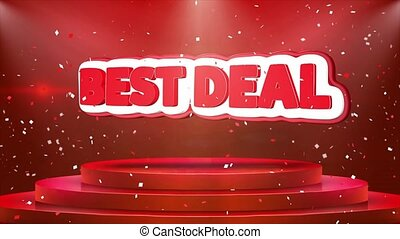 Best Deal Text Animation Stage Podium Confetti Loop...