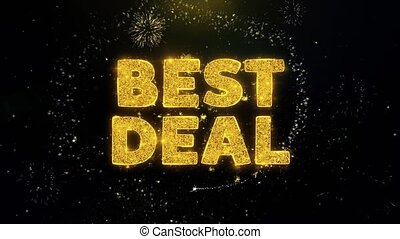 Best Deal Text on Gold Particles Fireworks Display.