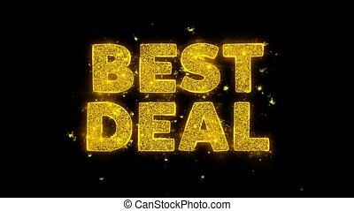 Best Deal Text Sparks Particles on Black Background.