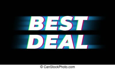 Best Deal Text Glitch Effect Promotion Advertisement Loop Background. Price Tag, Sale, Discounts, Deals, Special Offers, Green Screen and Alpha Matte