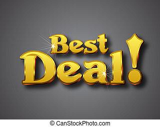 Best Deal Write in Big Gold 3D Font - Vector illustrator...