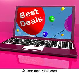 Best Deals Balloons On Computer Representing Discounts...