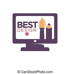 Best design promotion logotype. Cartoon thick paint brush and pencil