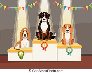 Best dog. Domestic pets exhibition podiums with prizes first second and third places vector cartoon concept