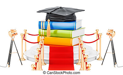 Best education concept with books and graduation cap. 3D rendering