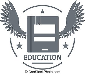 Best education logo, simple gray style