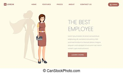 Best employee flat landing page vector template. Super specialist, worker, manager victory website, webpage. Businesswoman leadership, confident professional with superhero shadow cartoon character
