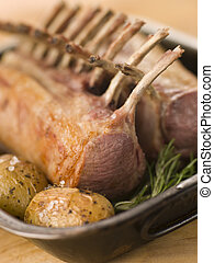 Best End Of English Spring Lamb with Rosemary Roasted New...
