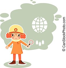 girl ecologist in vector format - best flat girl ecologist...
