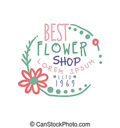 Best flower shop logo, estd 1969, badge for floral boutique,...