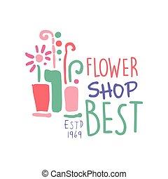 Best flower shop logo, estd 1969 element for floral...