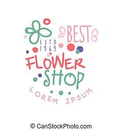 Best flower shop logo template, estd 1969, label for floral...