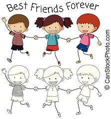 Best friend doodle graphic