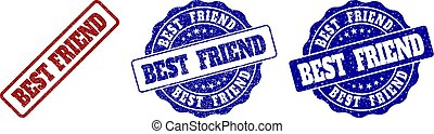 BEST FRIEND Grunge Stamp Seals