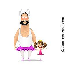 Father and daughter. Father to support his daughter, put on a ballerina costume. Vector