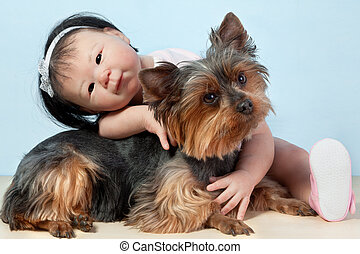 best friends - Asian Baby Doll Embracing her pet dog...