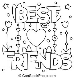 best friends coloring page vector illustration - Friends Quotes Coloring Pages